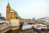 Part of the famous Landungsbruecken in Hamburg — Foto Stock