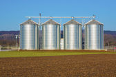 Silver silo in rural landscape — Stock Photo