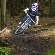 Downhill biker jumps over a ramp in the forest — Foto Stock