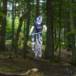 Downhill biker jumps over a ramp in the forest — Stok fotoğraf