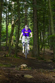 Downhill biker jumps over a ramp in the forest — Stock Photo