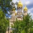 Famous russiorthodox church with golden copula — Stock Photo #18436457