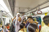 Passengers ride in the metro train — Foto Stock