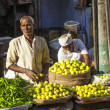 Man selling vegetables at Chawri Bazar in Delhi, India — Stock Photo