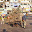 Rickshaw rider transports cargo — Stock Photo #18523901