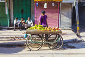 Man sells fruits at the vegetable street market in Delhi — Stock Photo