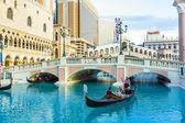 Hotel venecia en las vegas con en la góndola — Foto de Stock
