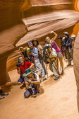 Photographers shooting of the upper Antelope Canyon — Stock Photo