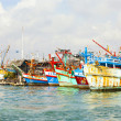 Fisherboats in the harbor — Stock Photo