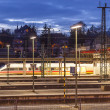 Evening train traffic in Wiesbaden — Stock Photo
