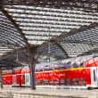 Train leaves the central railway station - Stock Photo