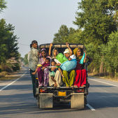 On highway 71 in overloaded truck — Stock Photo