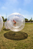 Children have fun in the Zorbing Ball — Stock Photo