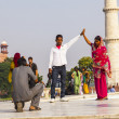 Visit Taj Mahal in Agra, India - Stock Photo