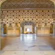 Stock Photo: Walls with silver and mirrors in rich decorated Amber fort. Jaip