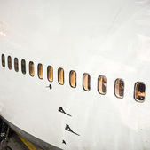 Aircraft at the gate by night — Stock Photo