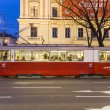 ������, ������: Historic tram operates in vienna in late afternoon in first dist