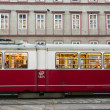 Vintage tram in Vienna in motion - Stock Photo