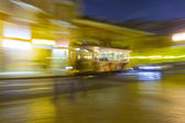 Lisbon at night, famous historic streetcar — Stock Photo