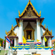 Monastery Wat Na Phramane in Ajutthaya with famous gold buddha a — Stock Photo #19587067