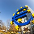 Euro symbol in front of the European Central Bank with occupy ca — Stock Photo #19658379