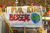 Slogan at protest camp of the Occupy Frankfurt movement at the European Central Bank — ストック写真