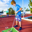 Boy playing mini golf in the course — Stock Photo #19705753