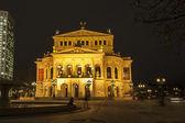 Lte Oper at night in Frankfurt — Stock Photo