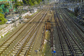 Old rusty rails leading to Mumbai Central Station with spare rai — Foto de Stock