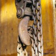 Old rusty chain with hook of a crane  — Stock Photo