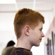 Smiling young boy with red hair at the hairdresser — Stock Photo #20055905