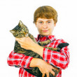 Boy with his cat in arm — Stock Photo #20092541