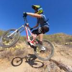 Downhill bike rider — Stock Photo