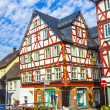 Old town of wetzlar with timbered houses and carvings in the woo -  
