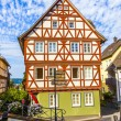 Old town of wetzlar with timbered houses and carvings in the woo - Stock Photo