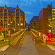 Speicherstadt in Hamburg by night — Stock Photo