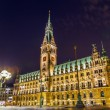 Townhall in Hamburg by night — Stock Photo