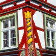 Stock Photo: Old town of wetzlar with timbered houses and carvings in woo