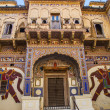 Beautiful old haveli in Mandawa, Rajasthan, India - Stock Photo