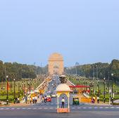查看对印度门 rajpath 大道上 — 图库照片