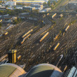 Aerial of the Hauptbahnhof in Frankfurt an Main in the evening — Zdjęcie stockowe #22799968