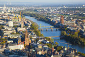 Aerial of Frankfurt an Main with view to river Main — Stock Photo