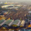 Aerial of the Hauptbahnhof in Frankfurt an Main in the evening — Zdjęcie stockowe #22800714