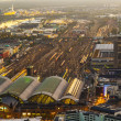 Aerial of the Hauptbahnhof in Frankfurt an Main in the evening — Zdjęcie stockowe #22800800