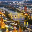 Aerial of Frankfurt an Main with view to river Main — Foto Stock