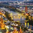 Aerial of Frankfurt an Main with view to river Main - Stock Photo