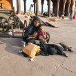 Stock Photo: Mother with childs rests on courtyard of Jama Masjid Mosque in D