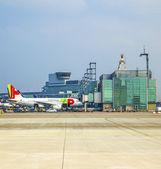TAP Flight ready to head to runway — Stock Photo