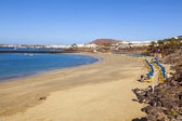 Beach of Playa Blanca without in early morning — Stock Photo