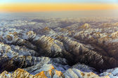 Aerial of the mountains in Tashkent, china and Kirgistan, covere — Stock Photo